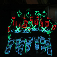DHL Free Stage Performance Costumes Clothing Costume Luminous Led EL Wire Dance Wear Fiber Optic Clothes