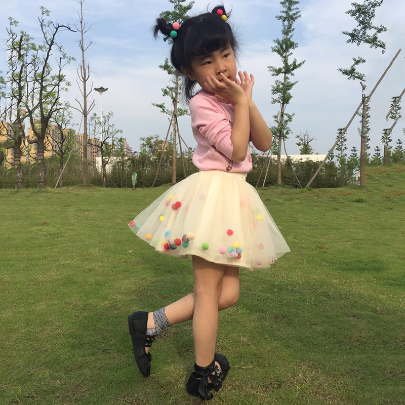 2018 Summer Baby Multilayer Tulle Tutu Skirt Colorful Pom Pom - Ropa de bebé - foto 5