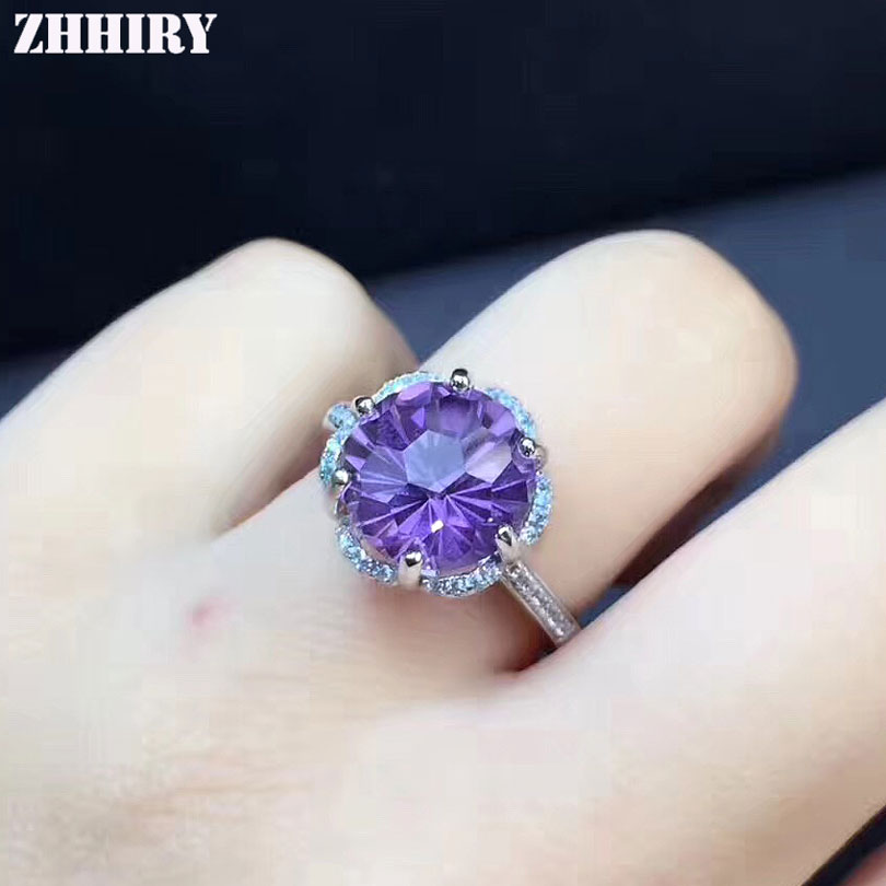 ZHHIRY Natural Amethyst Ring Genuine Solid 925 Sterling Silver For Woman Real Gemstone Fine Jewelry Fireworks