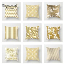 Fuwatacchi Gold  Style Cushion Cover Geometric Leaves Wave Diamond Printed Pillow Cover Decorative Pillows for Sofa Car цены