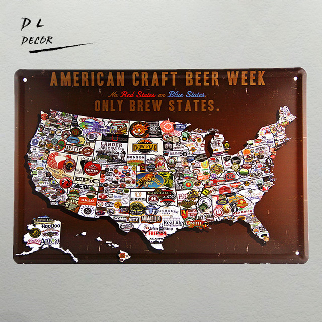 Dl A American Craft Beer Week Metal Poster Wall Design Stickers