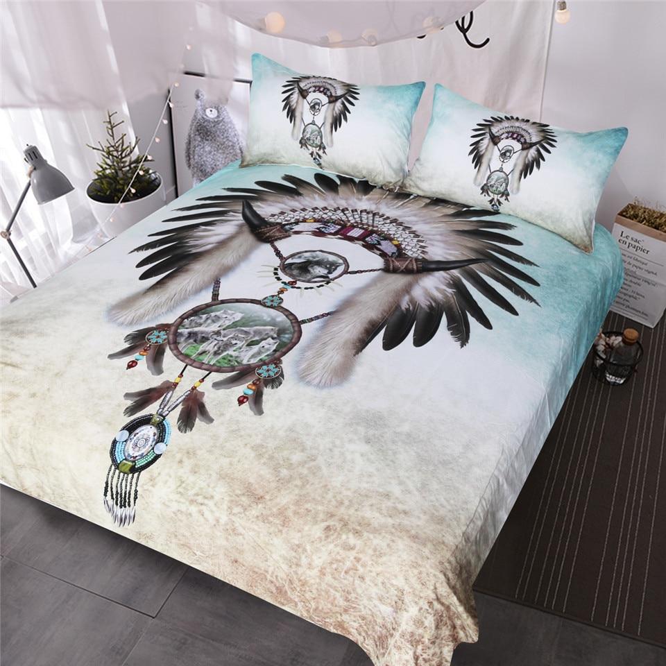 BlessLiving Wolf Dreamcatcher Bettwäsche Set Indische Feder Perlen Junge Westlichen Bettwäsche 3 stück Grau Teal Blau Bettbezug