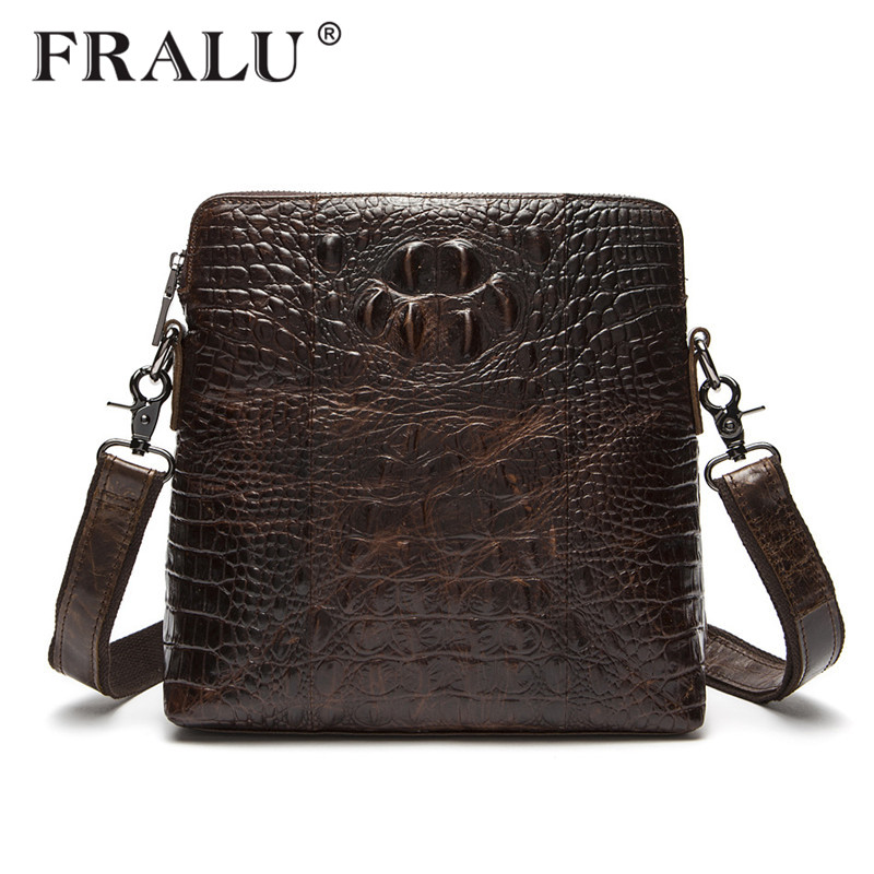 все цены на  FRALU Guarantee Genuine Leather Men Bags Handmade Alligator Famous Brand Design Messenger Bag High Quality Man Brands Bags  онлайн
