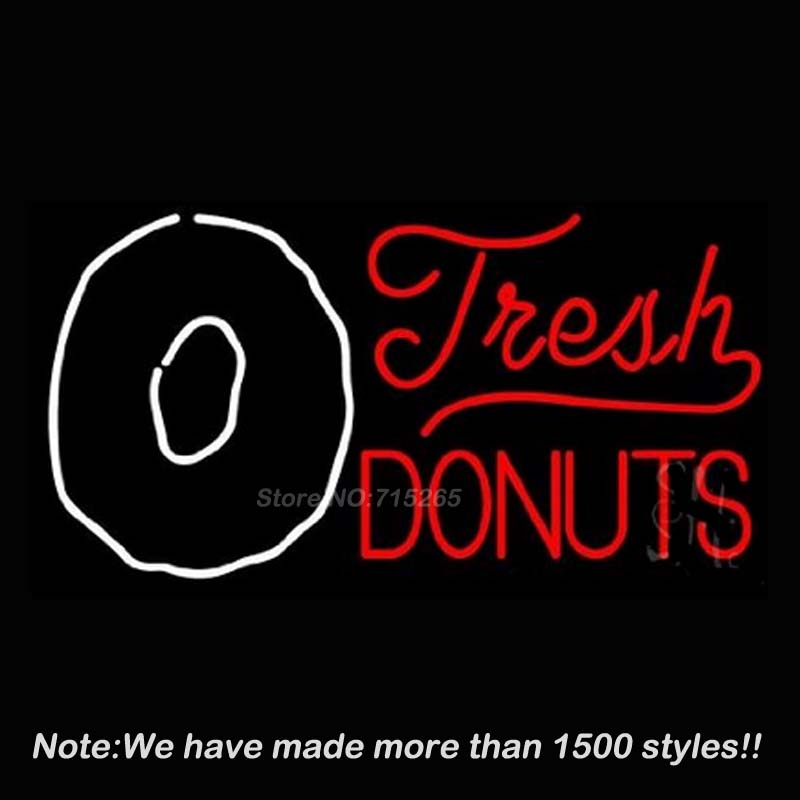 Fresh Donuts Glass Neon Sign Neon Bulbs Store Display Real Glass Tube Handcrafted Art Design Decorate Advertising GiftS 17x14