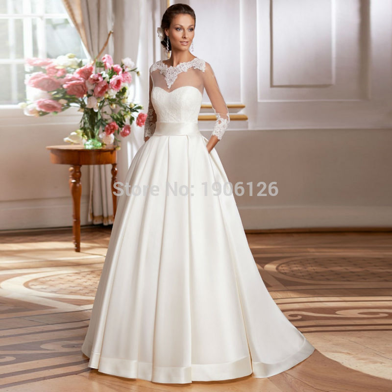 Gelinlik Simple Long Sleeve China Wedding Dresses 2016 Lace Bridal ...