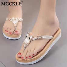 MCCKLE Women Casual Flip Flops Flat Slippers With Platform Female Crystal  Metal Owl Summer Shoes For a27356a6ab26