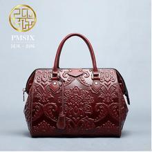 Genuine Leather handbag Pmsix 2016 Fashion Chinese Embossed Shoulder Bag Messenger bag handbag Boston package