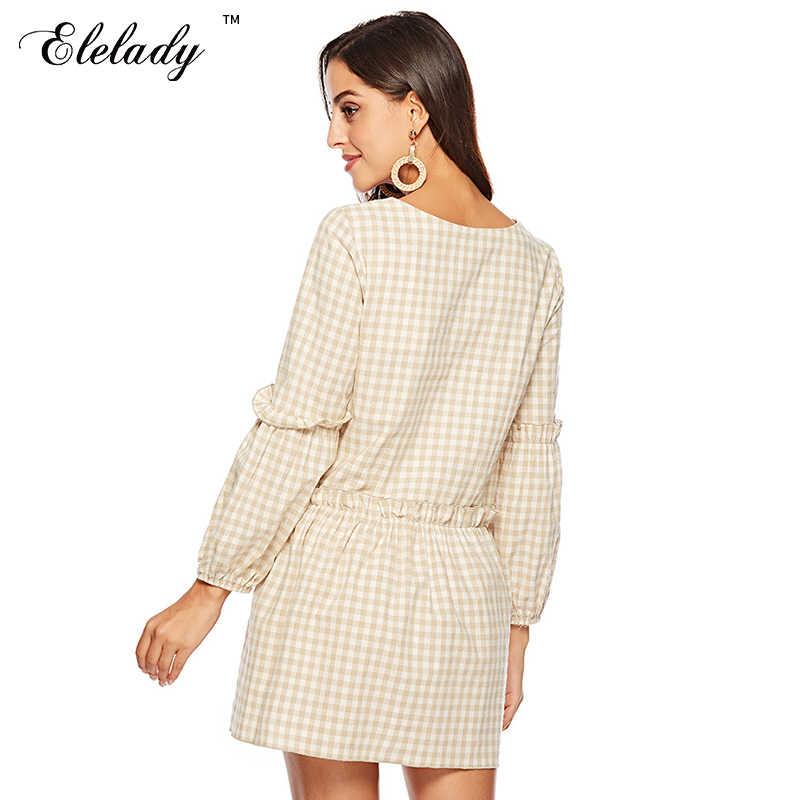 Southpire женское хлопковое платье 2019 осеннее модное повседневное клетчатое платье с v-образным вырезом для женщин винтажное мини-платье с длинным рукавом
