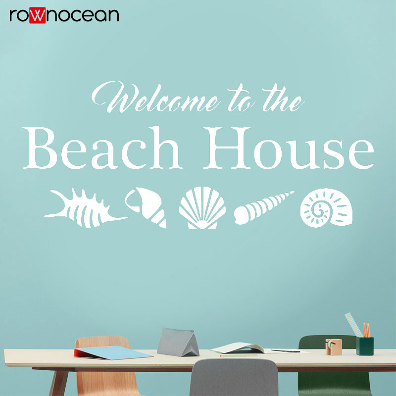 Welcomr To The Beach House Wall Decal Seashells Shells Home Vacation Vinyl Sticker Quote Ocean Sea Life Theme Decoration 3034