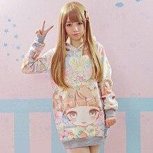 2016 new Autumn Lolita Hoodies Women Cute Hot Japan Students/Young Kawaii Pullovers Japanese Girl HARAJUKU Long style Sweatshirt