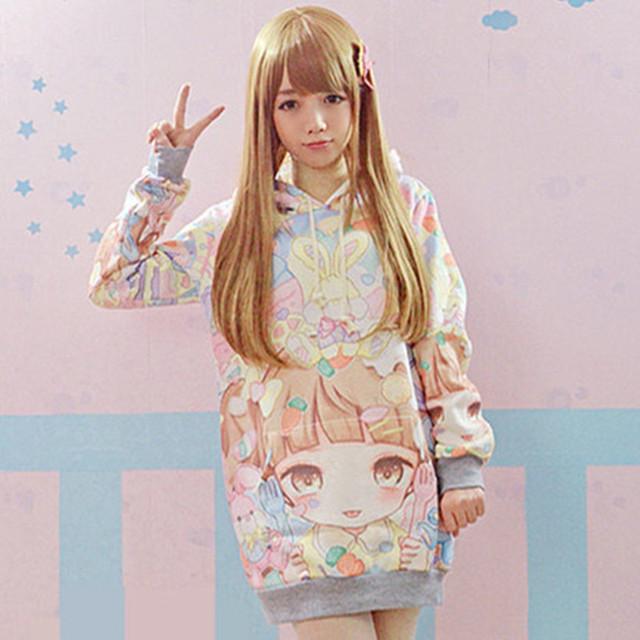 2016 novo Lolita Outono Hoodies Mulheres Quente Bonito Estudantes do Japão/Jovens Kawaii Pulôveres estilo Japonês HARAJUKU Menina Longa Camisola