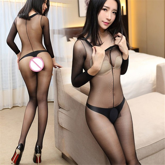 e409d7c6c1c Sexy Lingerie Hot O Neck Oil Gloss Nylon Stockings Tights For Women Sexy  Pantyhose Open Crotch Bodystocking 30D Thin Plus Size