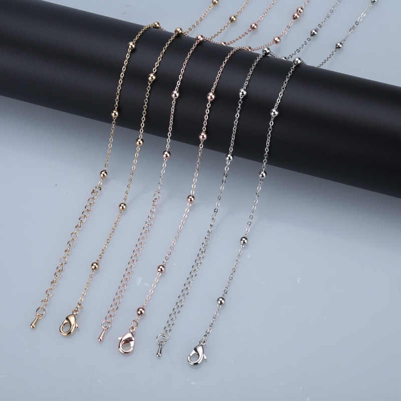 Xuben Hot sale 32 inch copper chains rose gold silver 85cm bead chain necklace jewelry with pendants women