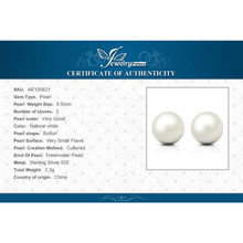 6.5mm Freshwater Cultured Pearl Button Ball Stud Earrings 925 Sterling Silver 2016 Fine Jewelry Earrings For Women