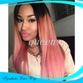Ombre Wigs  Sexy Silk Straight Dark Root To Pink Ombre Hair Wig Synthetic Lace Front Wig Top High Quality Women Ombre Lace Wig