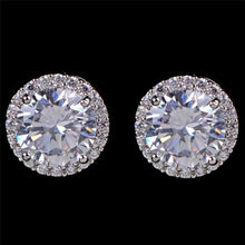 Classic Design Round Cubic Zircon Stud Earrings For Women Ladies High Quality Party Jewelry Earrings Pendientes 1 Pair(China)