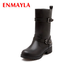 hot deal buy enmayla fashion western buckle knight boots for women riding motorcycle boots black yellow punk half boots