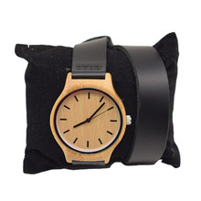 Newest Fashion Womens Leather Bamboo Wooden Watches With Long Geunine For Christmas Gifts