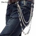 """Los hombres de Plata de Metal de Tres Hilos Hip-Hop Cadena de La Cintura de Múltiples Carpeta Dominante Cadena Punk Pantalones Vaqueros Chain-26 """"KB01"""