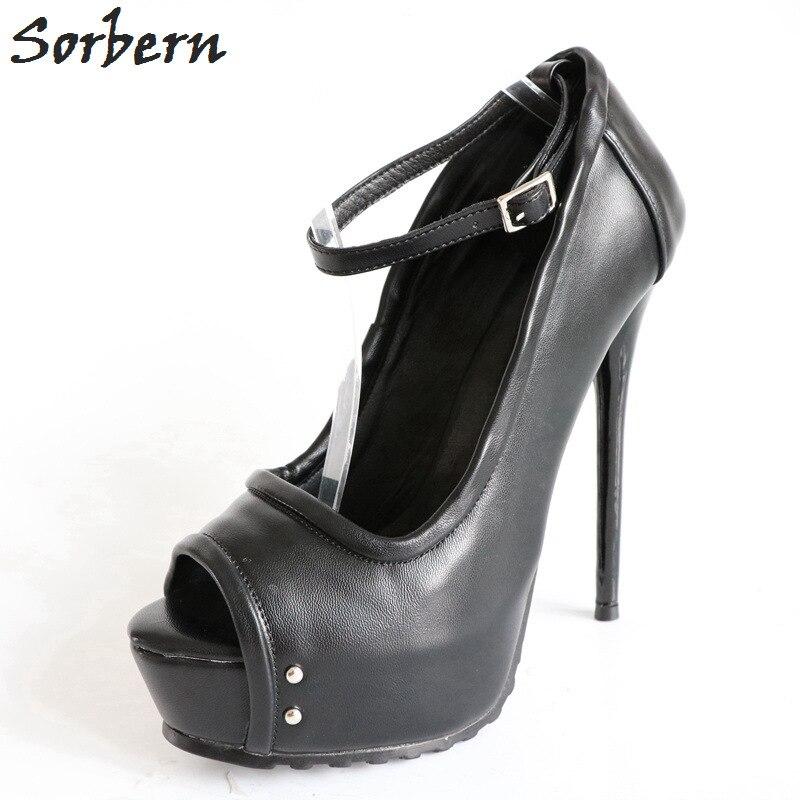 Large Bretelles Femmes Cheville forme custom Colors Fit Toe Dames Plate Chaussures Sorbern Noir Automne Peep Talons qfwTtTnxBv