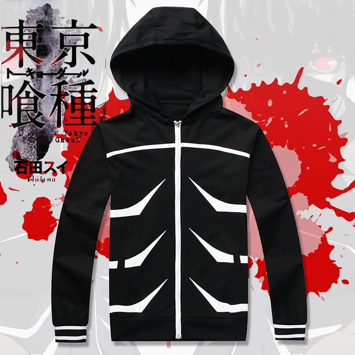 Anime Tokyo Ghoul Kaneki Ken Cosplay Hoodie Zipper up Coat Jacket Hooded Tops Uniform Suit Costume free shipping