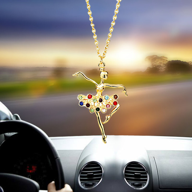 Car pendant creative alloy gold ballet dance girl   rearview mirror decorative accessories car hanging tassel ornaments