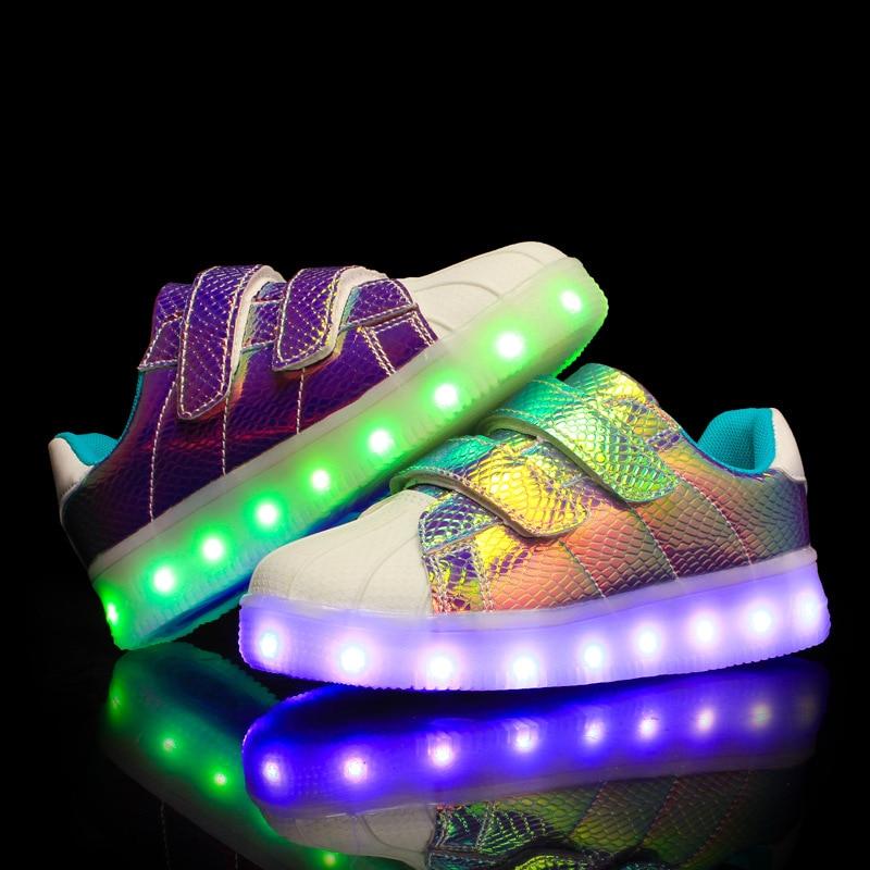 LED feminino luminous sneakers niños USB Zapatos con luz para niños Niños y Niñas cesta LED enfant creciente zapatilla tenis