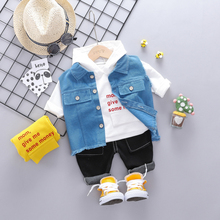 2019 Autumn Toddler Boys Clothes Suits  Baby Kids Clothing Set Vest + t Shirt + Pants Sets Infant  Children Costume Suit цена в Москве и Питере