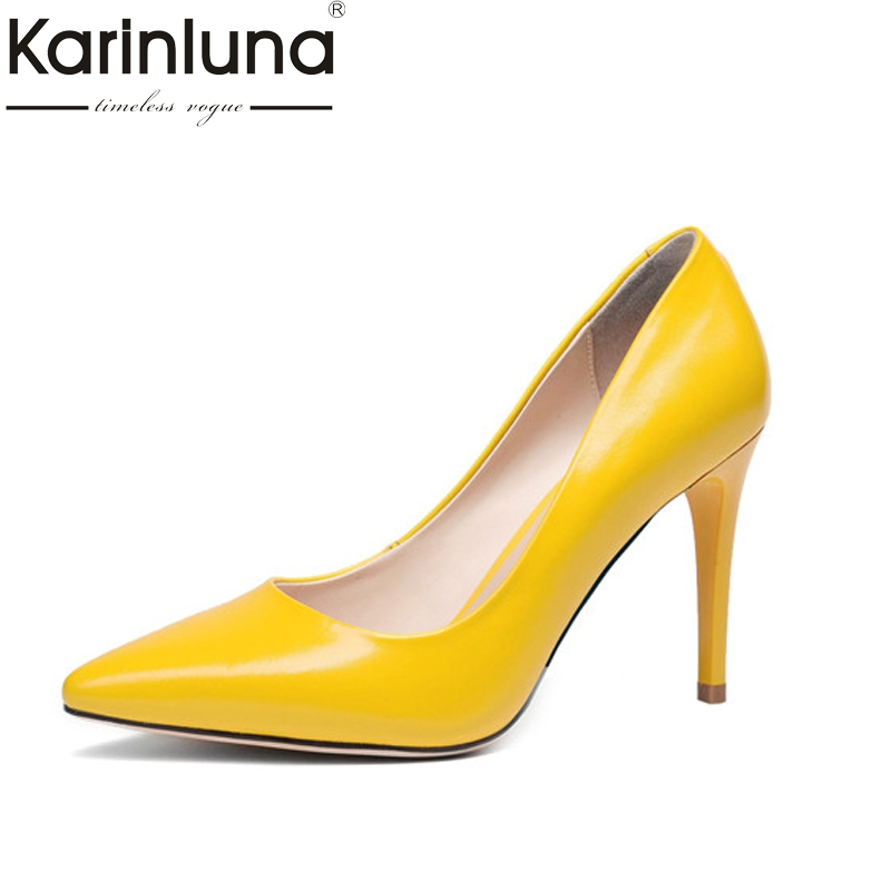 KarinLuna 2018 Women's Patent Leather High Heel Party Wedding Office Shoes Woman Pointed Toe Less Pumps Size 34-39 2017 women pointed toe patent leather office high heel shoes ladies pumps wedding party dress shoes 8 cm appliques