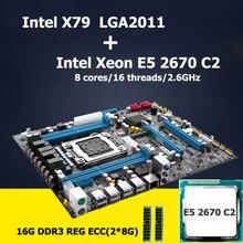 HUANAN motherboard CPU kit version 2.47 Intel X79 LGA 2011 motherboard with CPU Xeon E5 2670 C2 SROKX (2*8G)16G DDR3 REG ECC