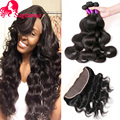 4Pcs Indian Virgin Hair With Closure 13*4 Ear to Ear Lace Frontal Closure With Bundle Queen Hair Body Wave Lace Front Human Hair