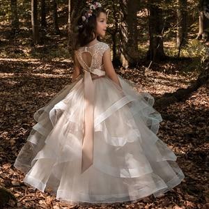Image 2 - פרח ילדה שמלות טול 2020 ואגלי Appliqued תחרות שמלות לנערות ראשית הקודש שמלות ילדים שמלות נשף