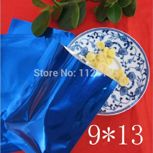 9x13cm(3.55x5.12)Plain pocket 200 X Open top Blue plating Aluminum Foil Bag - Metallic aluminized plastic Pouch Heat sealable