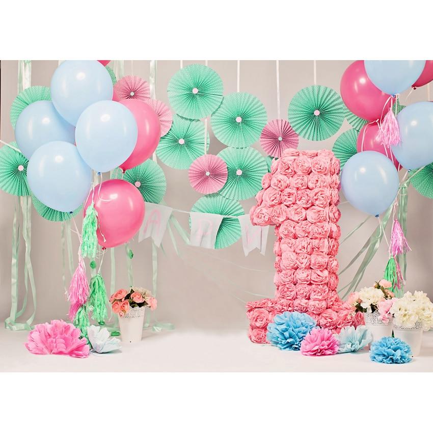 Happy Birthday Vinyl Cloth Flower Balloons Party
