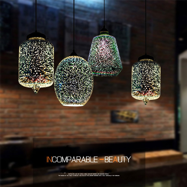 Modern 3D Colorful Nordic Starry Sky Hanging Glass Shade Pendant Lamp Lights E27 LED For Kitchen Restaurant Living Room Home Decor & Toys