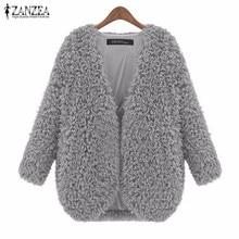 ZANZEA Women Coats 2017 Autumn Winter Jacket Ladies Fashion Vintage Long Sleeve Soft Warm Solid Outerwear Cardigan Plus Size