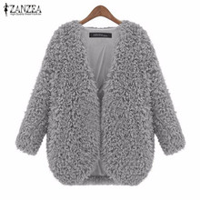 ZANZEA Women Coats 2017 Autumn Winter Jacket Ladies Fashion Vintage Long Sleeve Soft Warm Solid Outerwear Cardigan Plus Size