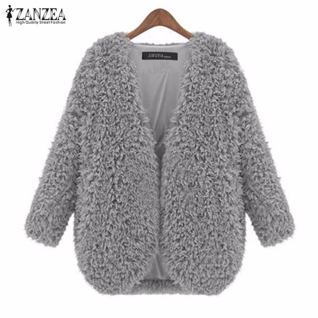 Zanzea mulheres casacos de inverno 2017 outono jaqueta senhoras moda vintage manga comprida suave quente sólida cardigan outerwear plus size