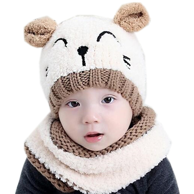 2017 high quality autumn winter children collar boys girls hat set plush beanies collar sets knit wool baby hat scarf sets