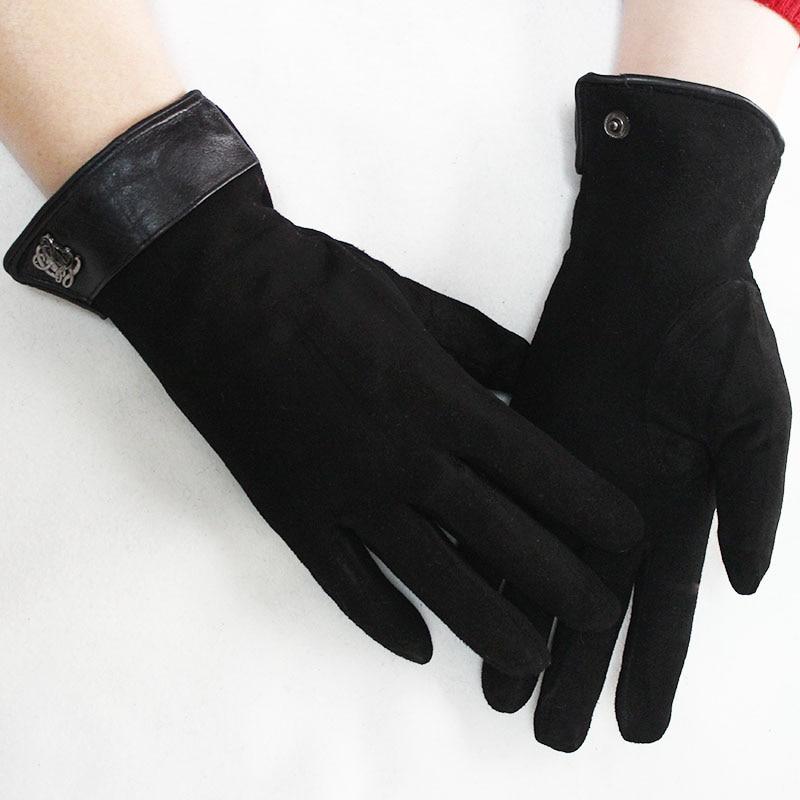 Women's Gloves Sheepskin Suede Gloves Womens Winter Thick Warm Parrot Rabbit Fur Lining Girls Black Bow Style Leather Finger Gloves