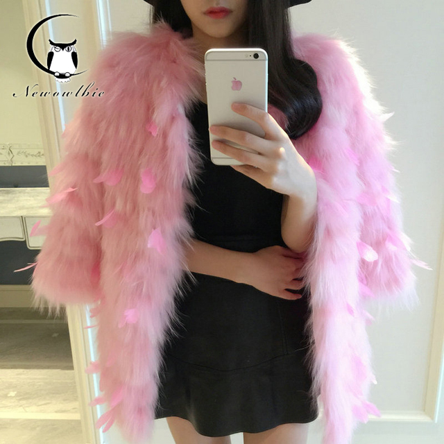 Real Fur Coat Women Plus Size Slim Elegant Luxury Nature Raccoon Fur Coats Winter Ladies Wholesale Genuine Leather With Feathers