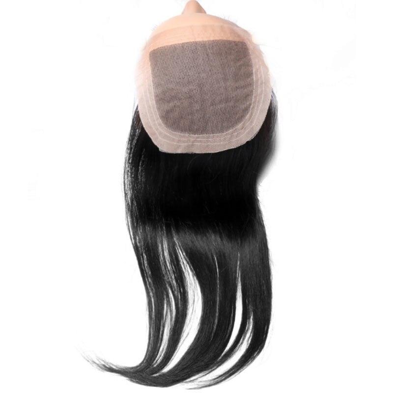Silk Base Closure Frontal Straight Virgin Brazilian Free Part 4x4 Human Baby Hair 1 PCS Natural Color 10 to 20 Inch