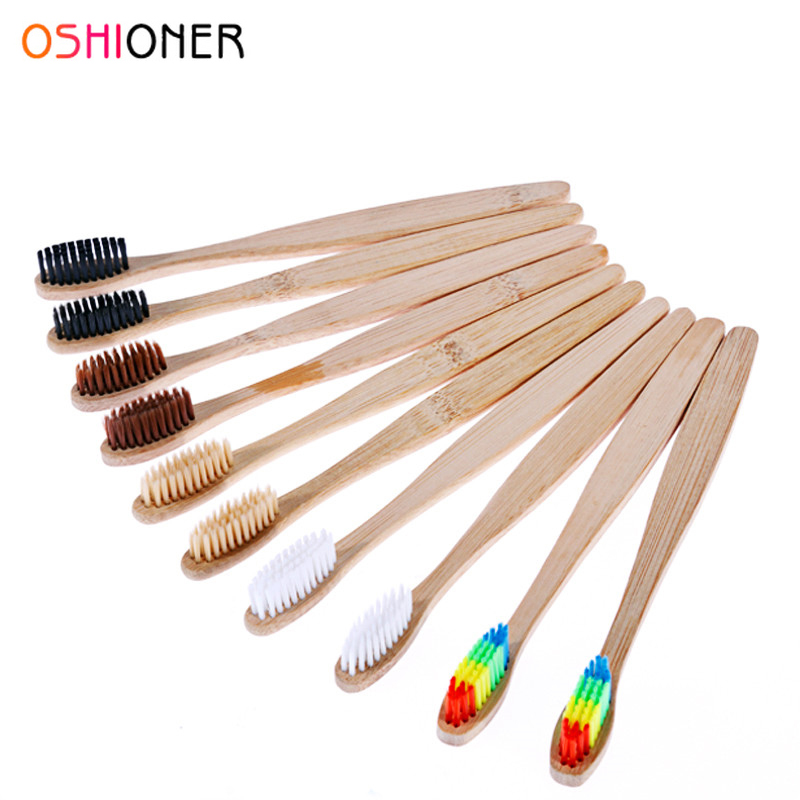 OSHIONER 1PC Natural Bamboo Handle Toothbrush Rainbow Colorful Whitening Soft Bristles Bamboo Toothbrush Eco-friendly Oral Care