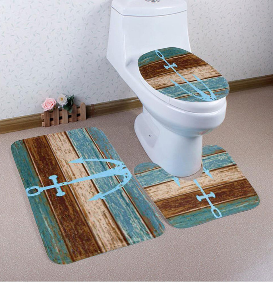 3Pcs/set Coral Velvet Toliet Seat Cover Blue Anchors Boat Deck Zakka Style Cover Pad Cushion Mats For Bathroom