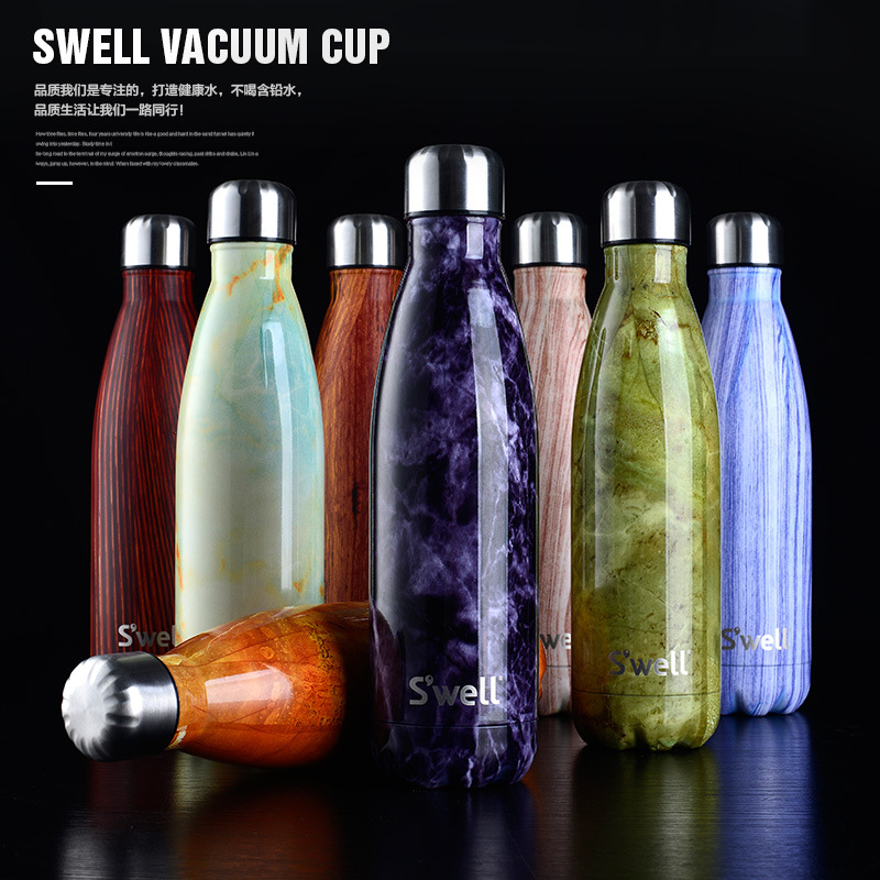 Vacuum insulated stainless steel water bottle double wall Swell bottle Wood grain marble Creative straight bowling