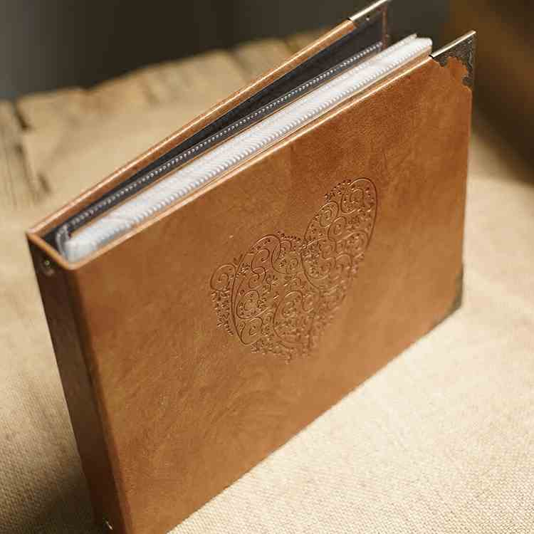 A4 Leather Heart Kraft Paper Notebook / Photo ALBUM / Hand-painted Graffiti Day Book / DIY Leather Wedding Albums image