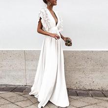 Women Summer European Butterfly Sleeves Beach Dress Sweet V Neck Backless Maxi Dress Solid High Waist Party Dress цена