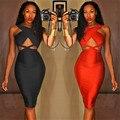 Vestido atractivo del Club 2015 mujeres negro Bodycon rodilla longitud Backless sin mangas del v-cuello del vestido del vendaje Vestidos