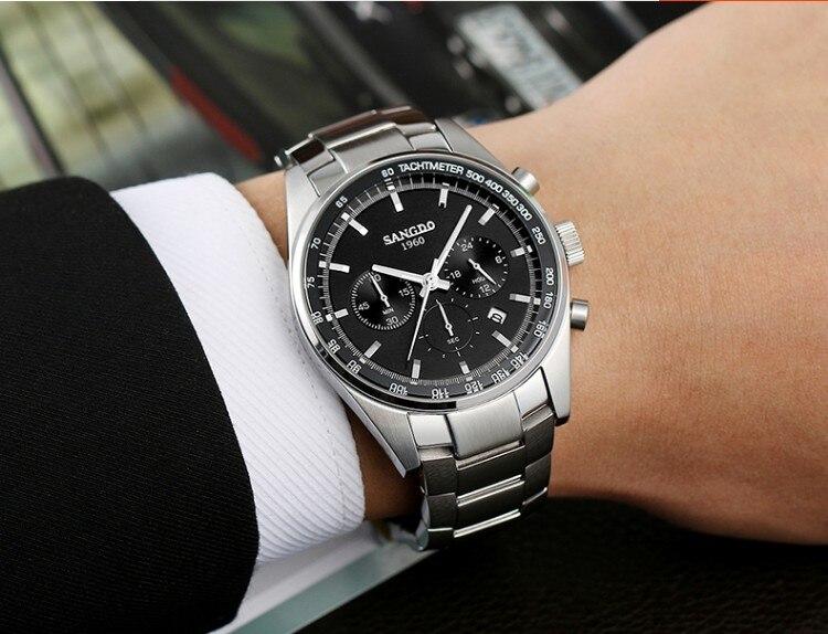 42 мм SANGDO многофункциональный хронограф японский кварцевый механизм черный циферблат Мужские часы Высокое качество Новая мода кварцевые ча... - 5