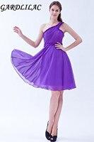 Gardlilac Chiffon One-shoulder Short Bridesmaid Dress Purple Wedding party Dress Simple A-Line vestido madrinha